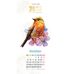 calendar for 2015 october vector image vector image