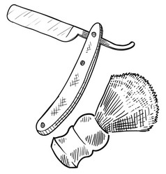 doodle shave straight razor brush vector image