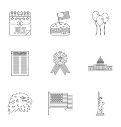 Fourth of july day icon set outline style vector