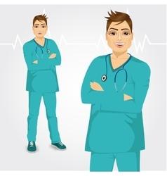 happy doctor man standing with hands crossed vector image