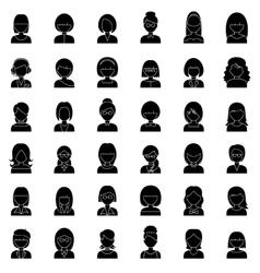 Set of outline people icons vector image vector image