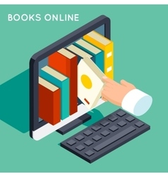 Books online library isometric 3d flat concept vector