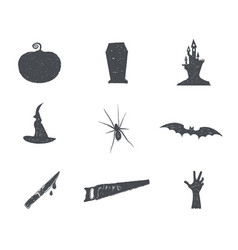 set of halloween silhouette isons vintage hand vector image vector image