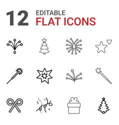 12 xmas icons vector