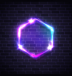 Abstract glowing hexagon background on brick wall vector