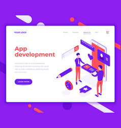 app development teamwork people and interact with vector image