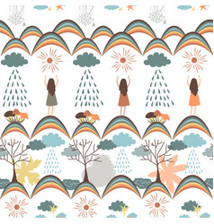 autumn seamless pattern tribal background vector image