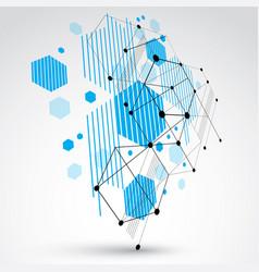 Bauhaus art 3d modular blue wallpaper made using vector