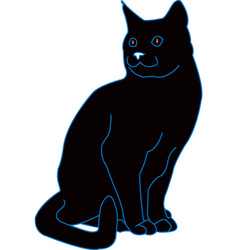 black cat with lines vector image