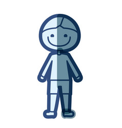 Blue color silhouette cartoon boy icon vector