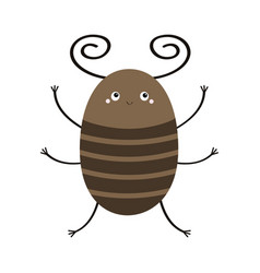 bug beetle icon cute insect with horn cartoon vector image