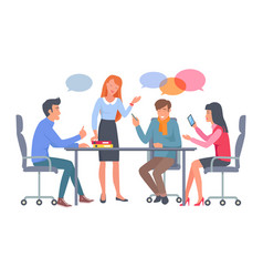 business team discuss work at table vector image