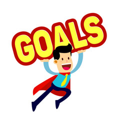 Businessman in red cape flying while carry goals vector