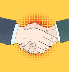 businessmen shake hands in retro vector image