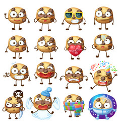 cartoon choc chip cookie characters 2 vector image