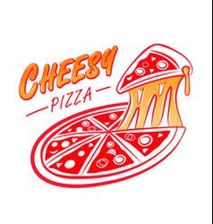 cheesy pizza logo vector image