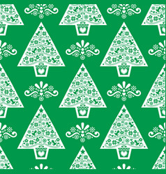 Christmas tree folk art seamless pattern i vector