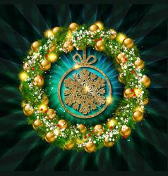 christmas wreath banner vector image