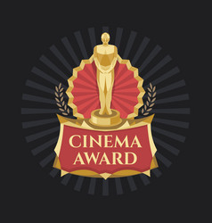 Cinema award golden trophy with dark background vector