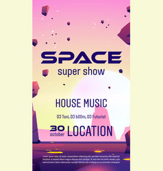 club party with space music show flyer vector image