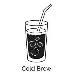 Cold brew coffee glass vector