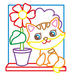 coloring book of cute kitten vector image