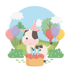cute cow in birthday party scene vector image