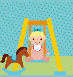 cute little girl on swing and rocking horse toys vector image