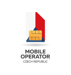 czech republic mobile operator sim card with flag vector image