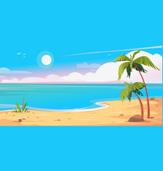 Deserted shore beach and palms banner beautiful vector