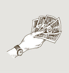 doodle icons hand holds banknotes isolated on vector image