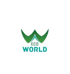 eco world concept letter w icon vector image