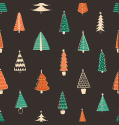 fir trees seamless pattern hand drawn vector image