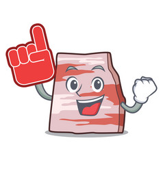 Foam finger pork lard mascot cartoon vector