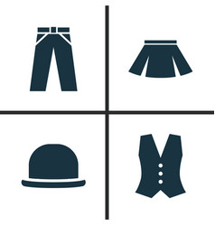 garment icons set collection of pants panama vector image