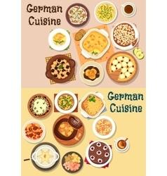German cuisine dinner icon set for menu design vector image