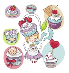 girl with cake on her head isolated set of cupcake vector image vector image