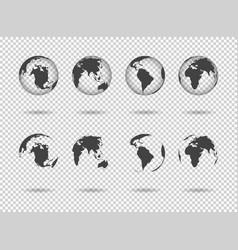 globe earth icons world maps set 3d globus vector image