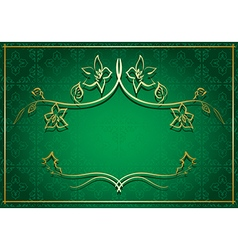 green background with golden frame in center vector image