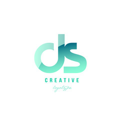 Green gradient pastel modern ds d s alphabet vector
