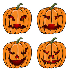 halloween pumpkins carved face with emotions vector image