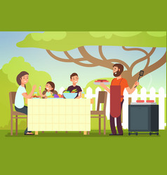 Happy family eating barbecue outdoor man woman vector