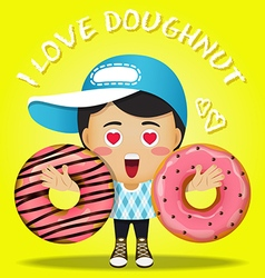 happy man carrying big strawberry doughnut vector image vector image