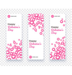 happy valentine day banner set vertical card vector image