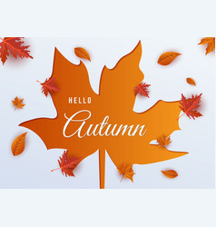 hello autumn leaf background vector image