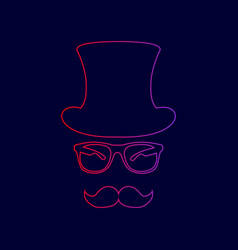 hipster accessories design line icon with vector image