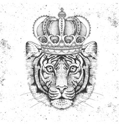 Hipster animal tiger in crown hand drawing muzzle vector