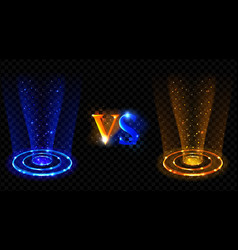 Hologram effect vs circles neon versus round rays vector