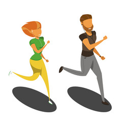Isolated runners girl and the guy isometric vector