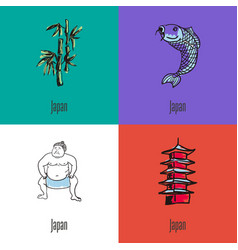 japanese national symbols icons set vector image